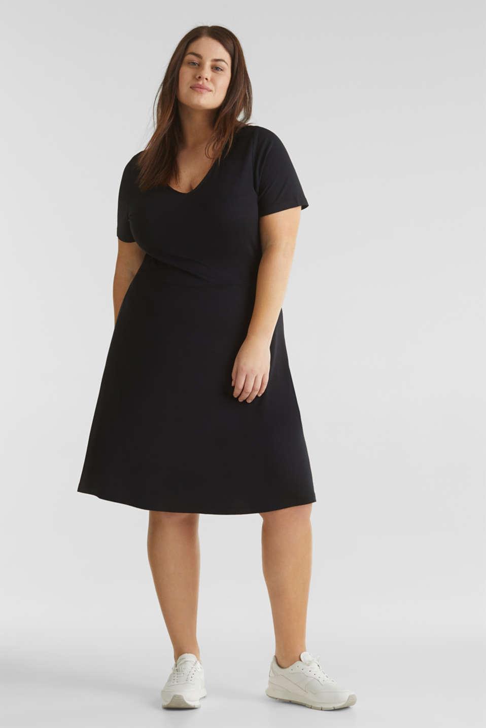 CURVY stretch jersey dress with a V-neckline, BLACK, detail image number 1