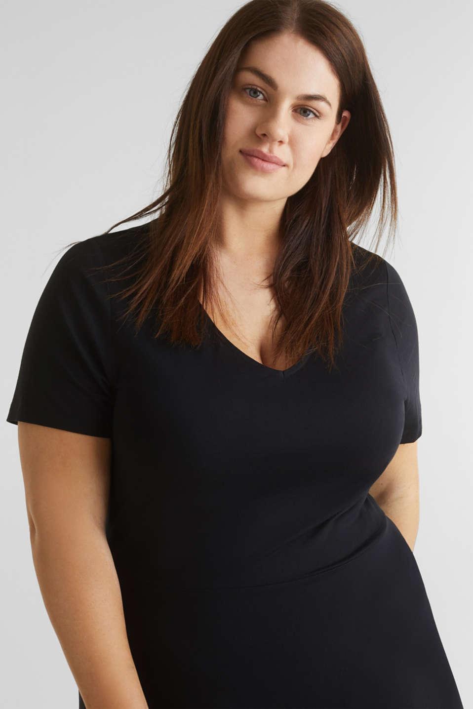 CURVY stretch jersey dress with a V-neckline, BLACK, detail image number 3