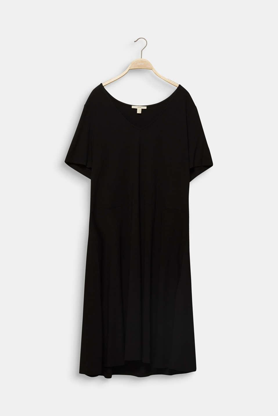 CURVY stretch jersey dress with a V-neckline, BLACK, detail image number 5