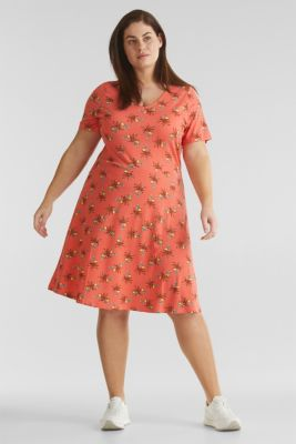 CURVY stretch jersey dress with a print, CORAL, detail