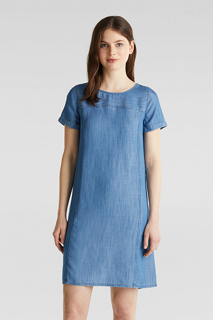 Made of TENCEL™: A-line denim dress, BLUE MEDIUM WASHED, detail image number 0