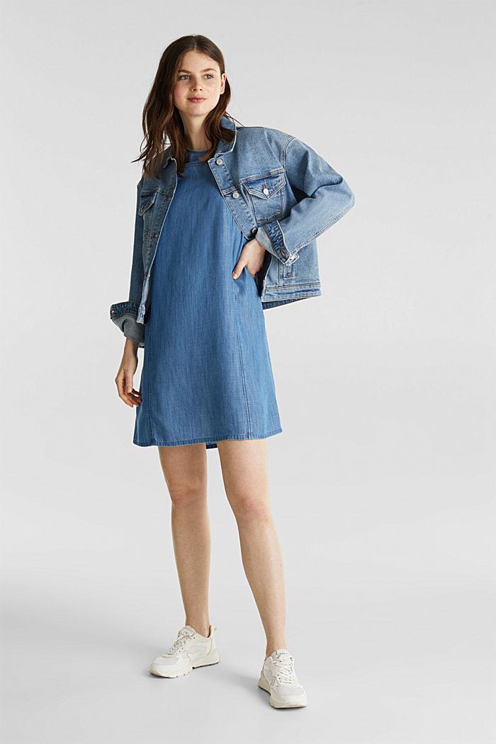 Made of TENCEL™: A-line denim dress, BLUE MEDIUM WASHED, detail image number 1