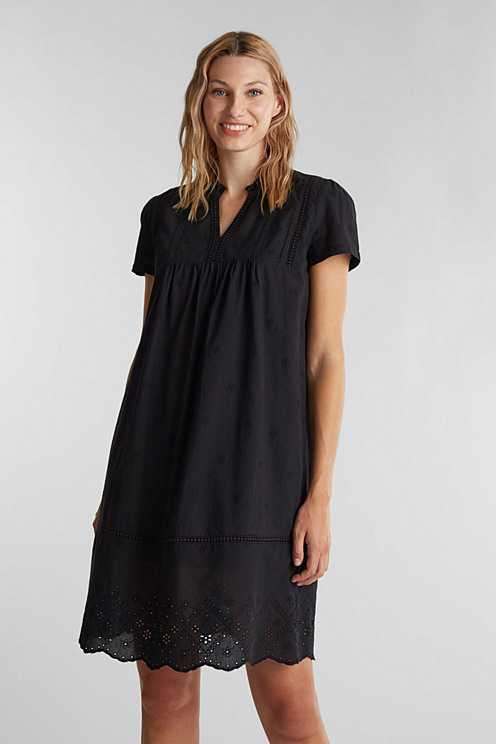Dress with broderie anglaise, 100% cotton, BLACK, detail image number 0