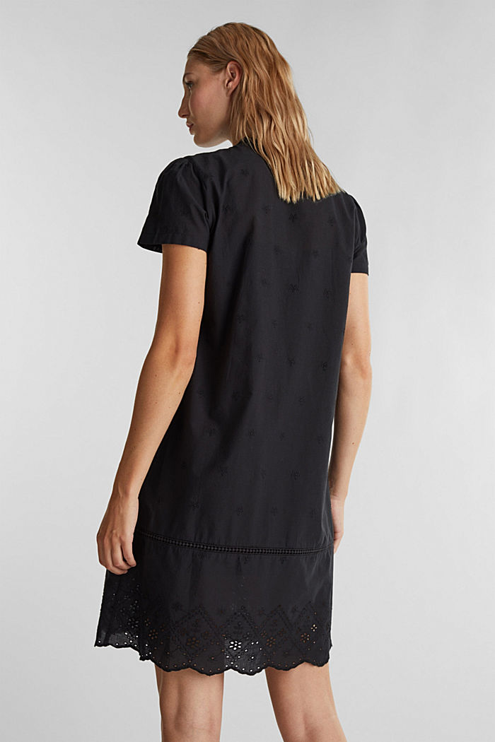 Dress with broderie anglaise, 100% cotton, BLACK, detail image number 2