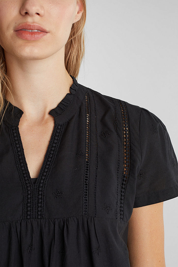 Dress with broderie anglaise, 100% cotton, BLACK, detail image number 3
