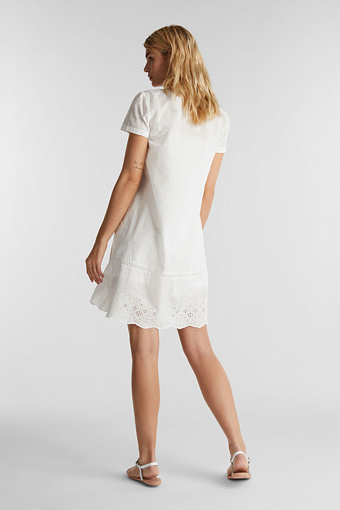 Dress with broderie anglaise, 100% cotton, OFF WHITE, detail image number 2