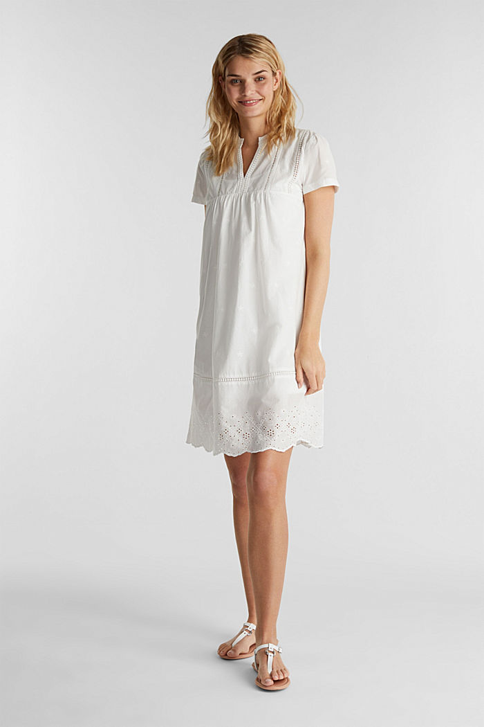 Dress with broderie anglaise, 100% cotton, OFF WHITE, detail image number 1