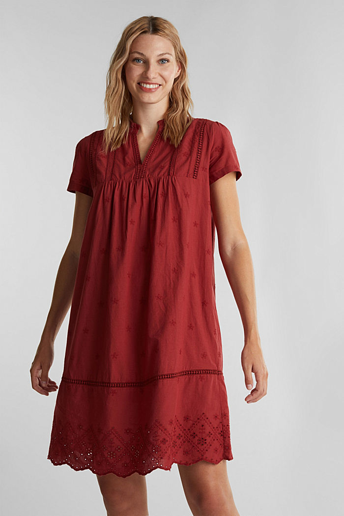 Dress with broderie anglaise, 100% cotton, DARK RED, detail image number 0