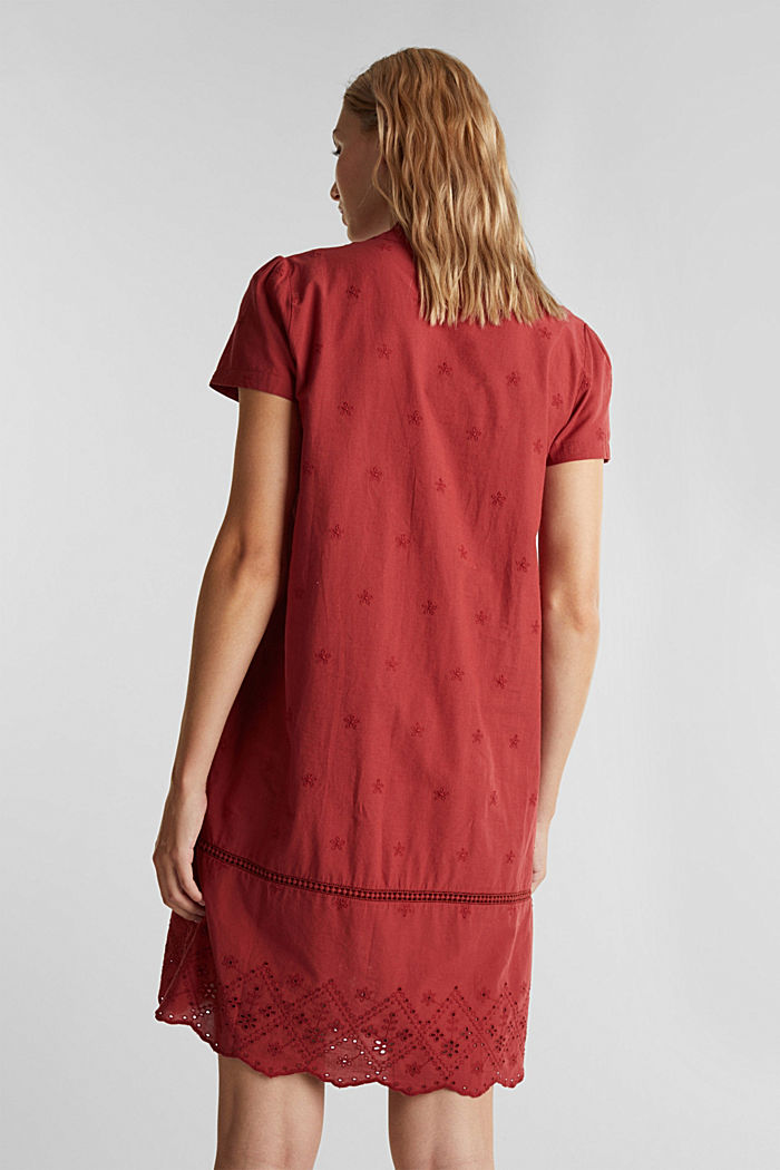 Dress with broderie anglaise, 100% cotton, DARK RED, detail image number 2