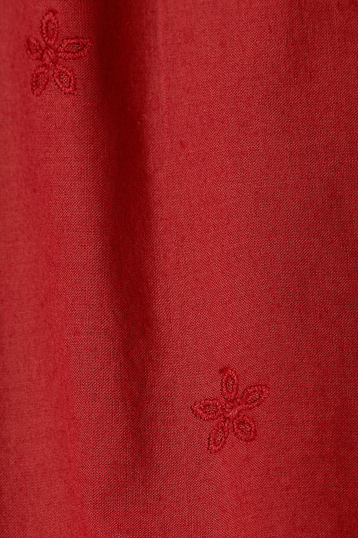 Dress with broderie anglaise, 100% cotton, DARK RED, detail image number 3