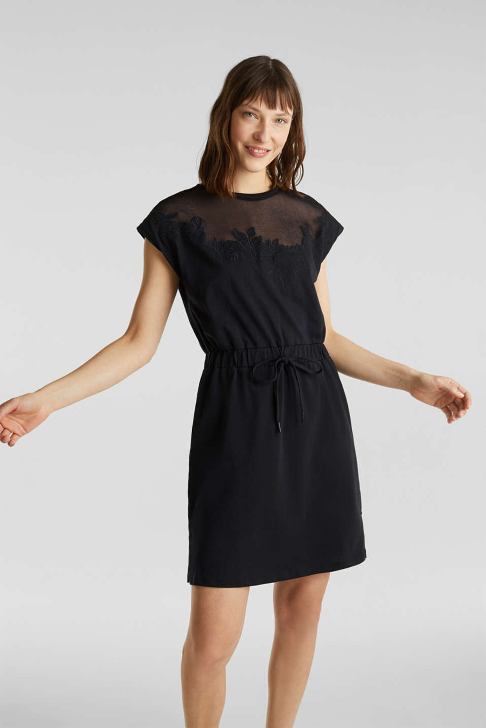 Jersey dress with mesh and embroidery, BLACK, detail image number 0