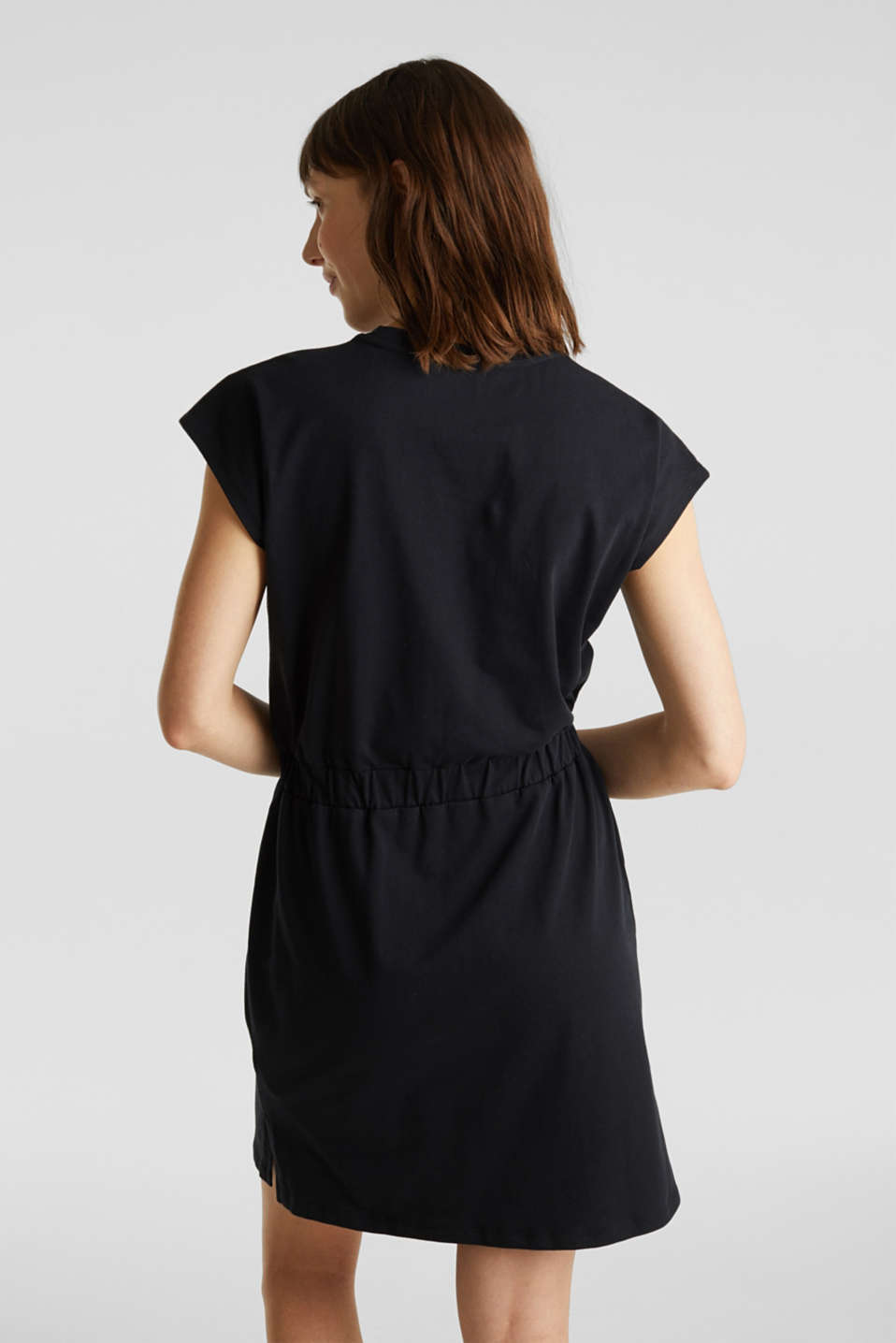 Jersey dress with mesh and embroidery, BLACK, detail image number 2