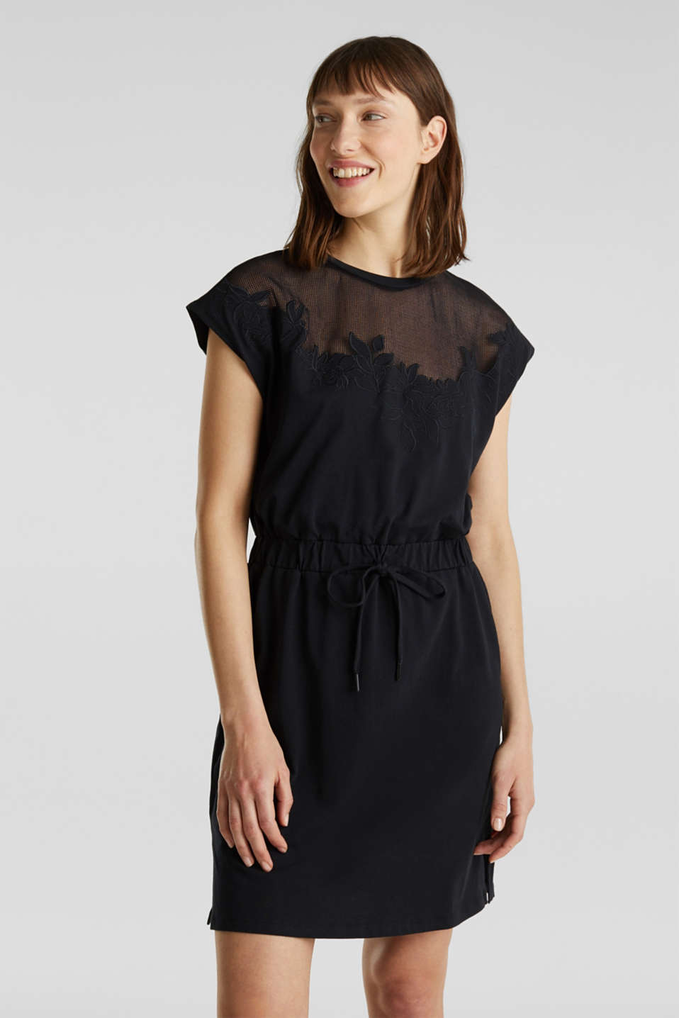 Jersey dress with mesh and embroidery, BLACK, detail image number 5