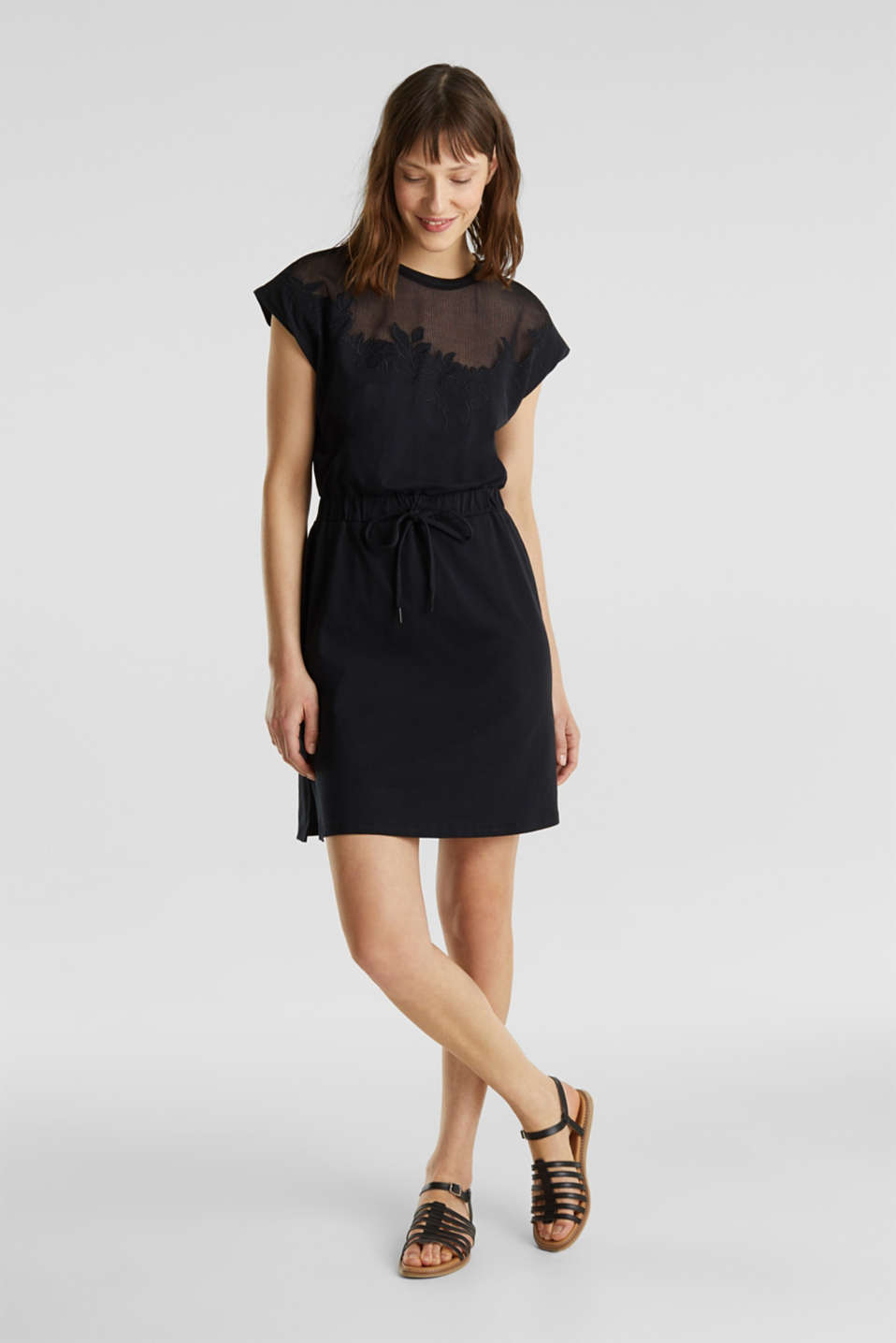 Jersey dress with mesh and embroidery, BLACK, detail image number 1