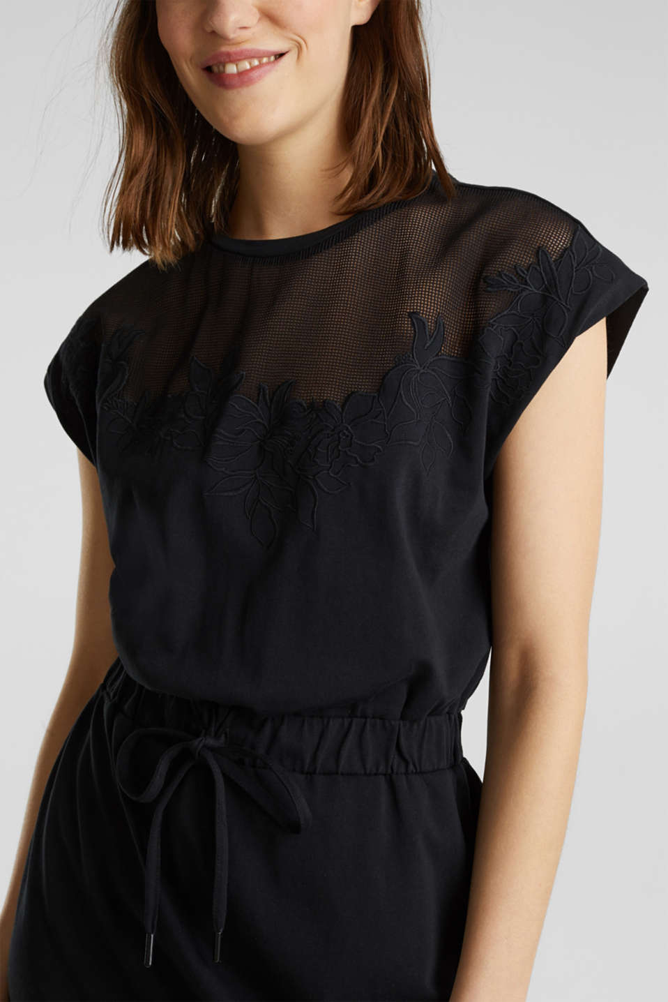 Jersey dress with mesh and embroidery, BLACK, detail image number 3