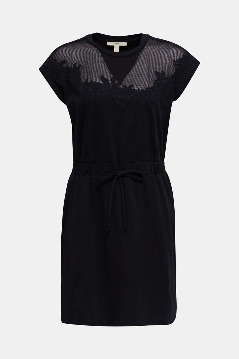 Jersey dress with mesh and embroidery, BLACK, detail image number 6
