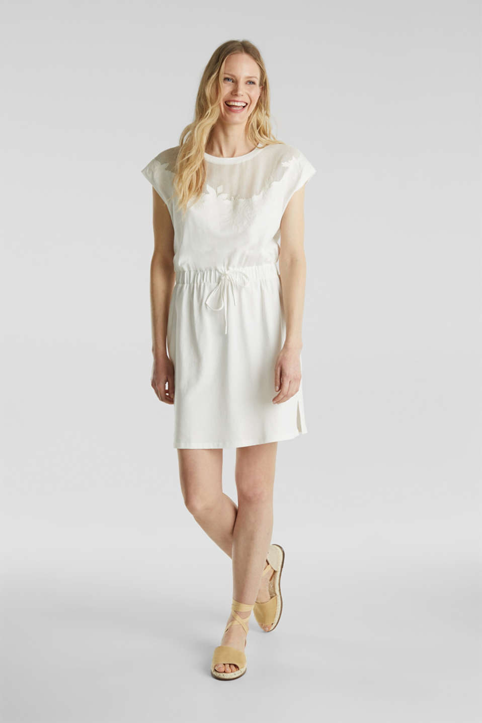 Esprit - Jersey dress with mesh and embroidery