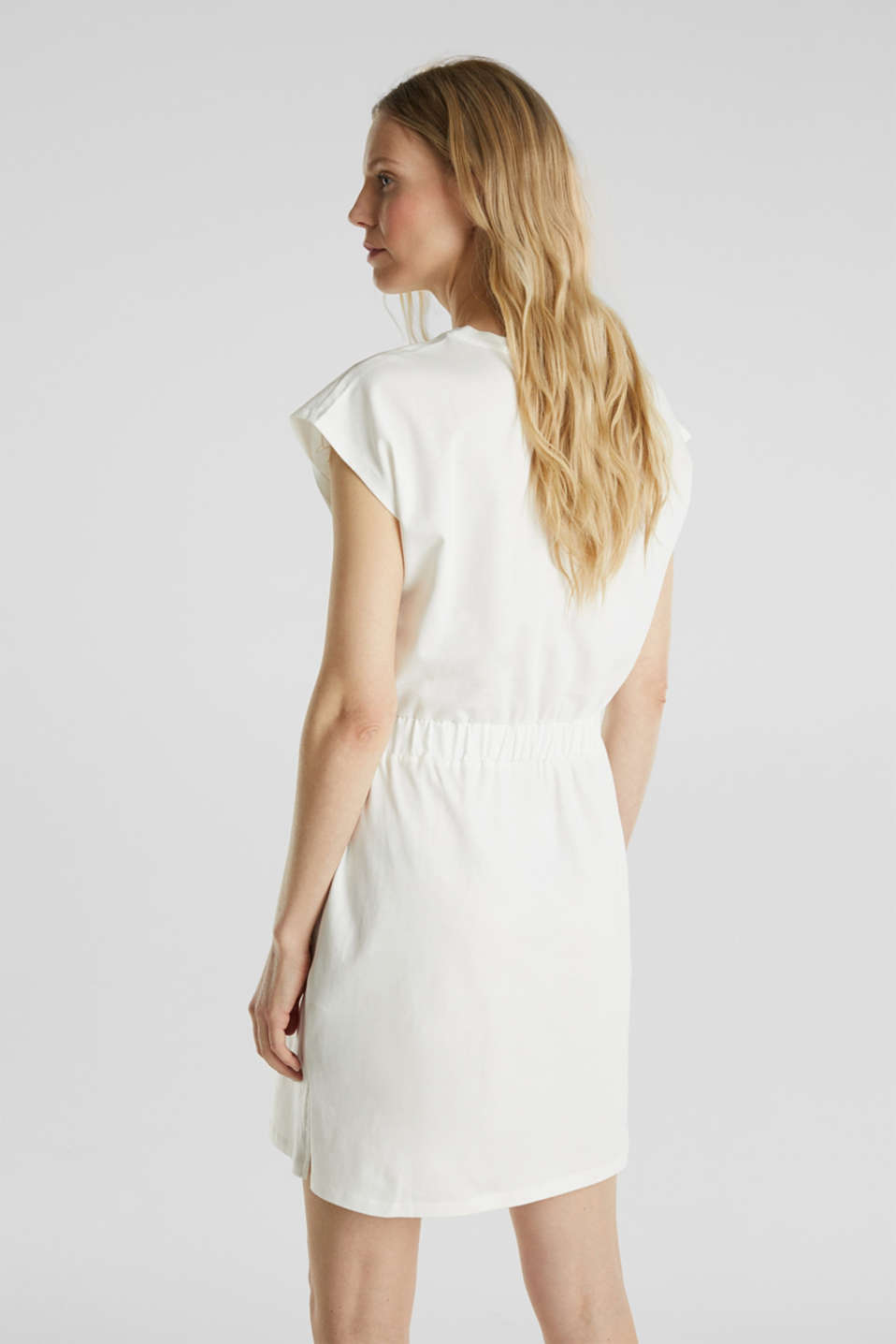 Jersey dress with mesh and embroidery, OFF WHITE, detail image number 2