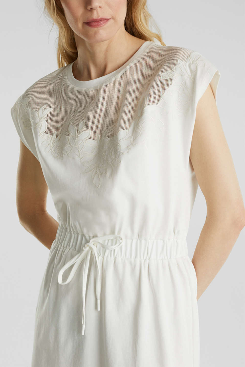 Jersey dress with mesh and embroidery, OFF WHITE, detail image number 3