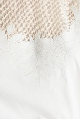 Jersey dress with mesh and embroidery, OFF WHITE, detail