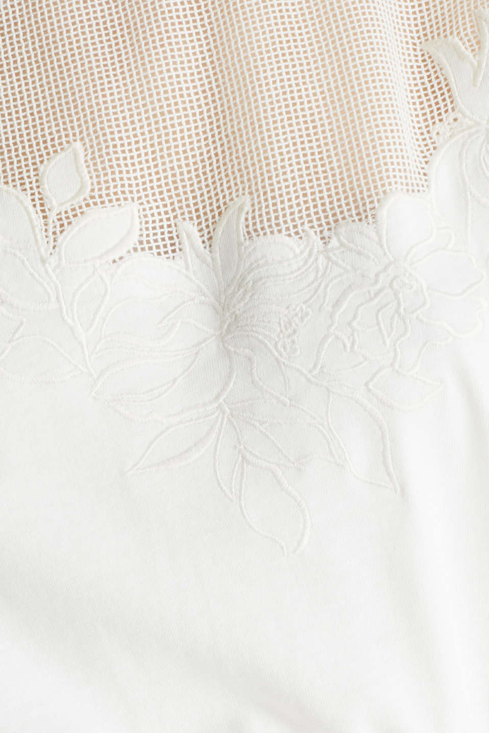 Jersey dress with mesh and embroidery, OFF WHITE, detail image number 4