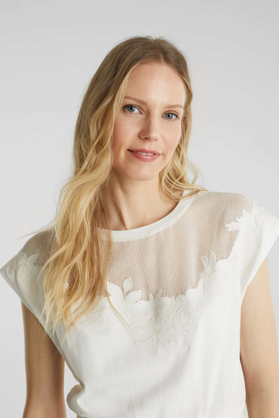 Jersey dress with mesh and embroidery, OFF WHITE, detail image number 5