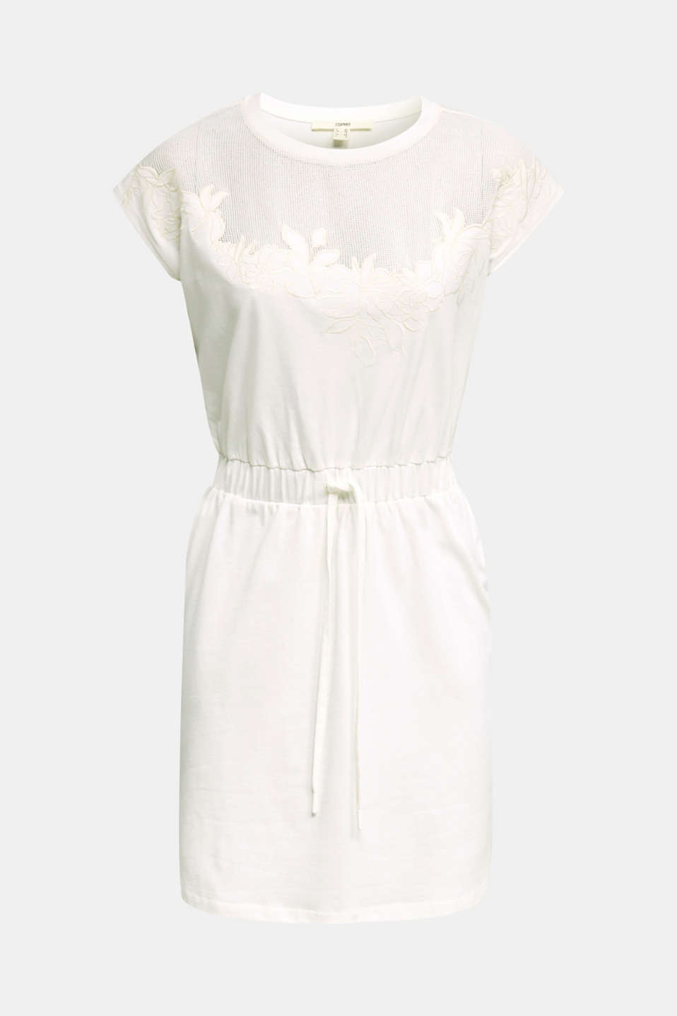 Jersey dress with mesh and embroidery, OFF WHITE, detail image number 6