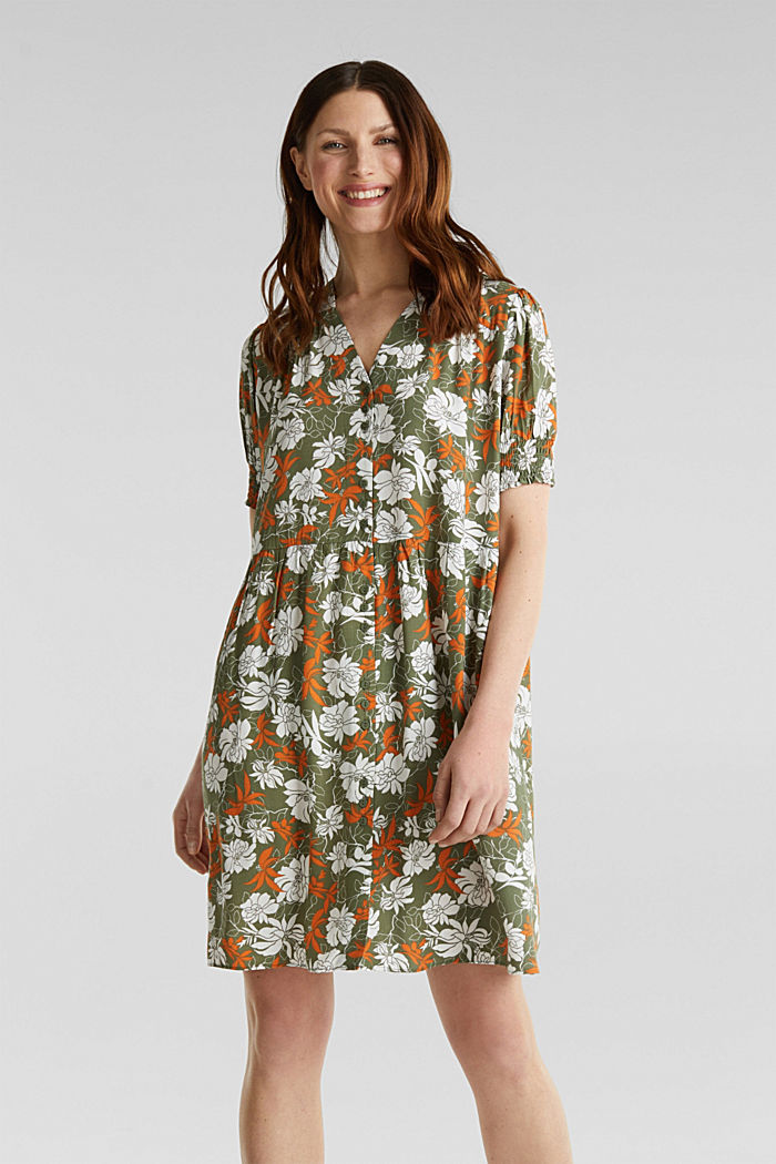 Made of LENZING™ ECOVERO™: printed dress, KHAKI GREEN, detail image number 0
