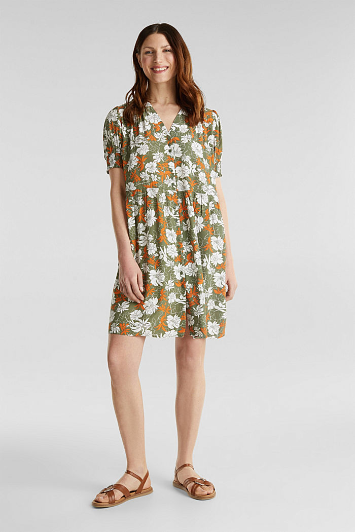 Made of LENZING™ ECOVERO™: printed dress, KHAKI GREEN, detail image number 1