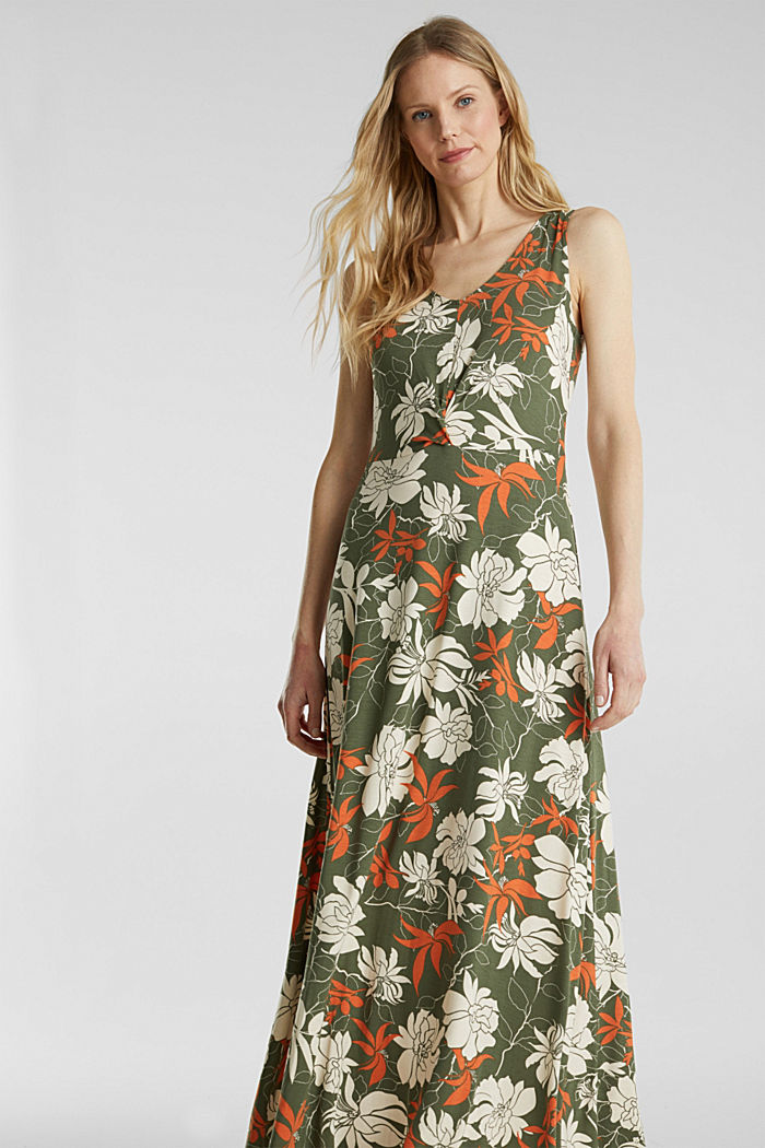 Maxi dress made of jersey with a floral print, KHAKI GREEN, detail image number 0