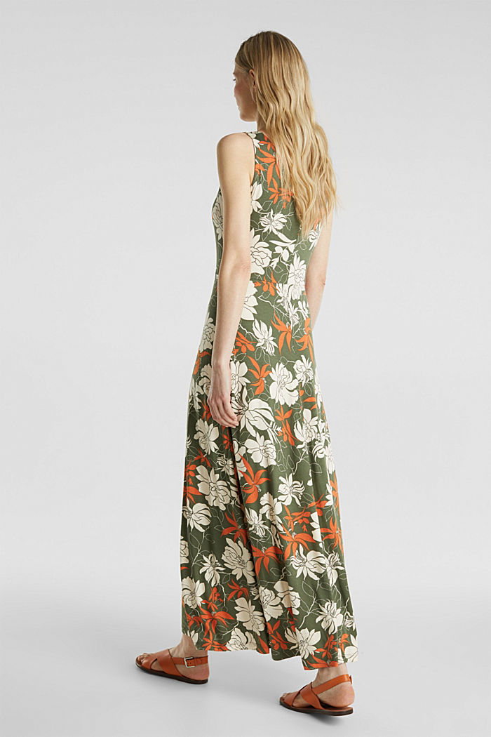 Maxi dress made of jersey with a floral print, KHAKI GREEN, detail image number 2