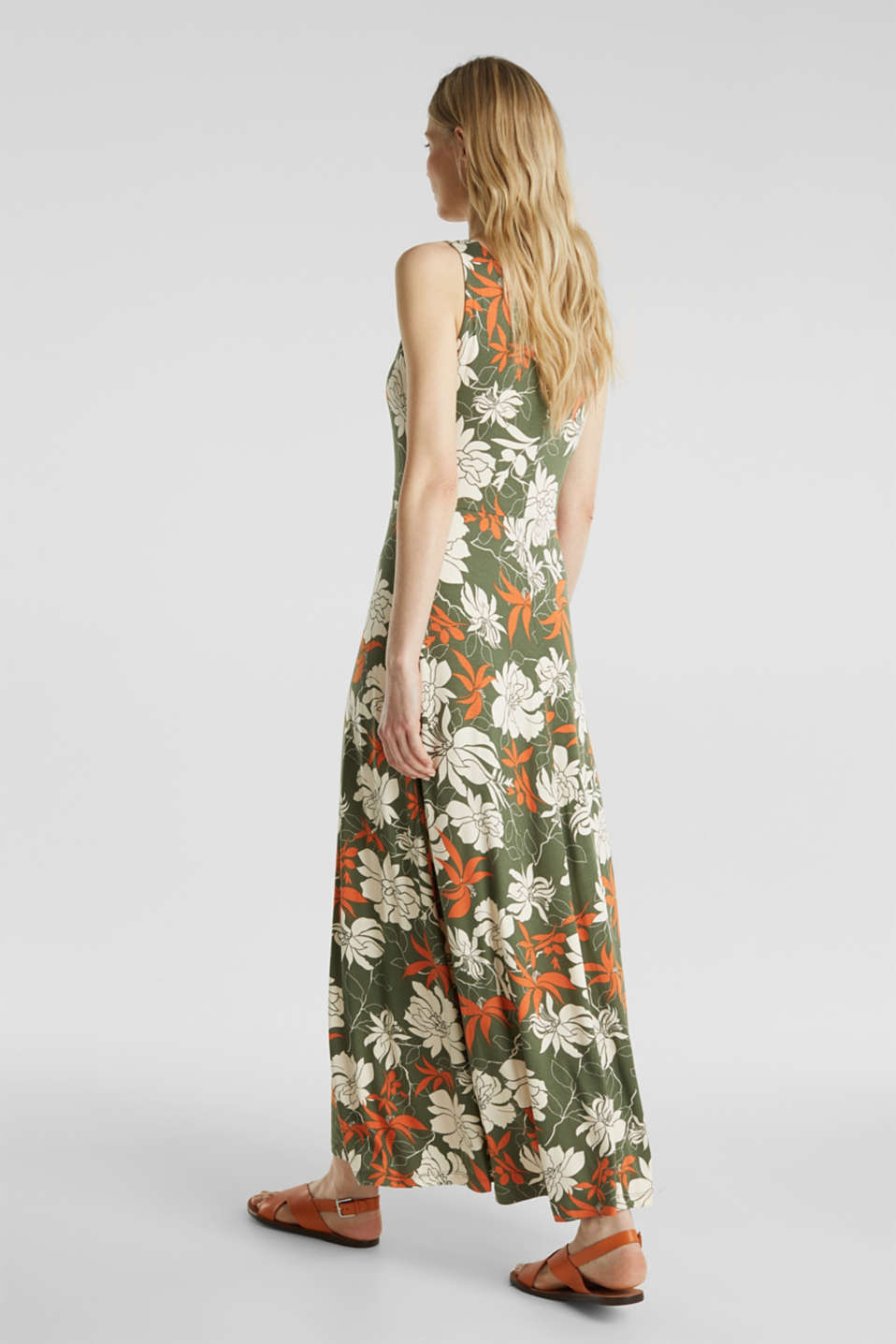Maxi dress made of jersey with a floral print, KHAKI GREEN 4, detail image number 2