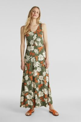 Maxi dress made of jersey with a floral print, KHAKI GREEN 4, detail