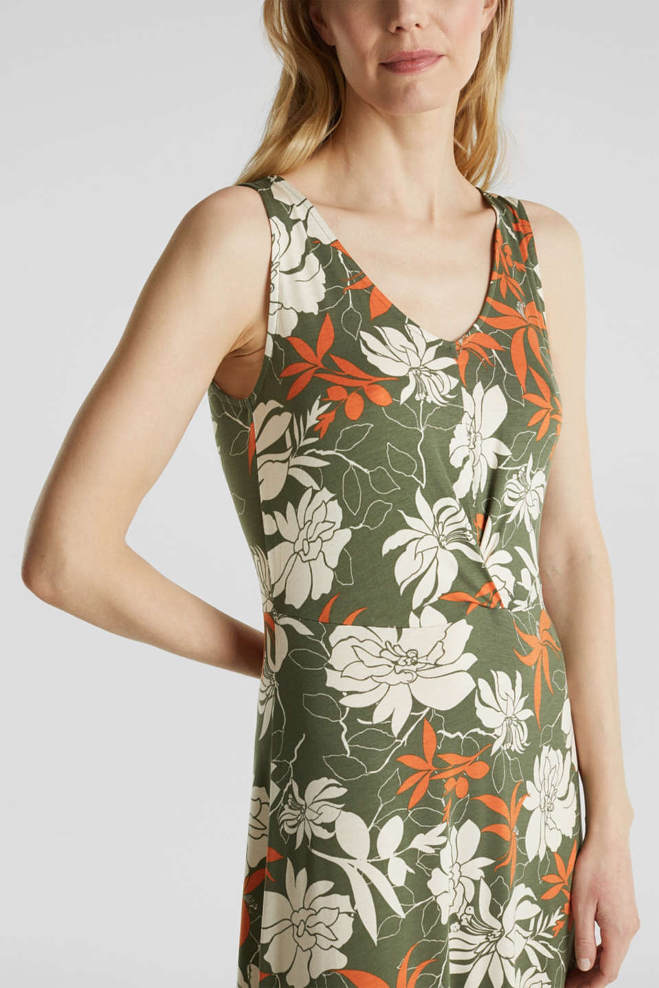 Maxi dress made of jersey with a floral print, KHAKI GREEN 4, detail image number 3