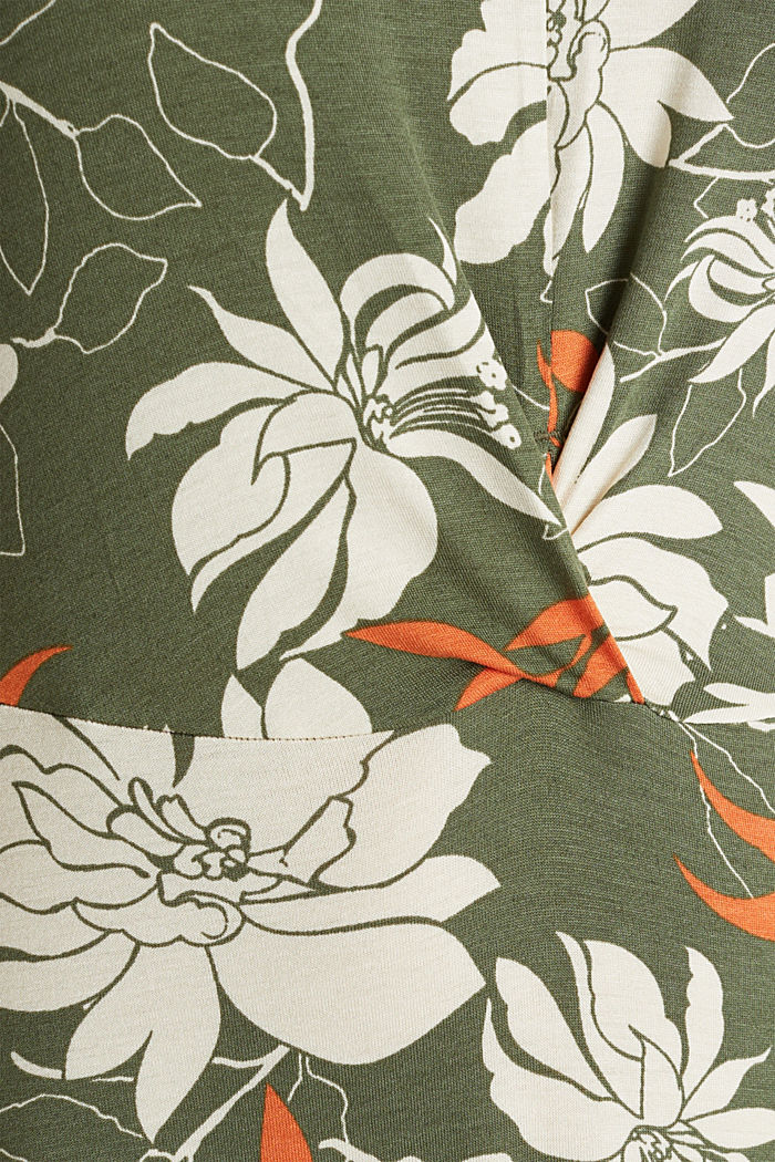 Maxi dress made of jersey with a floral print, KHAKI GREEN, detail image number 4