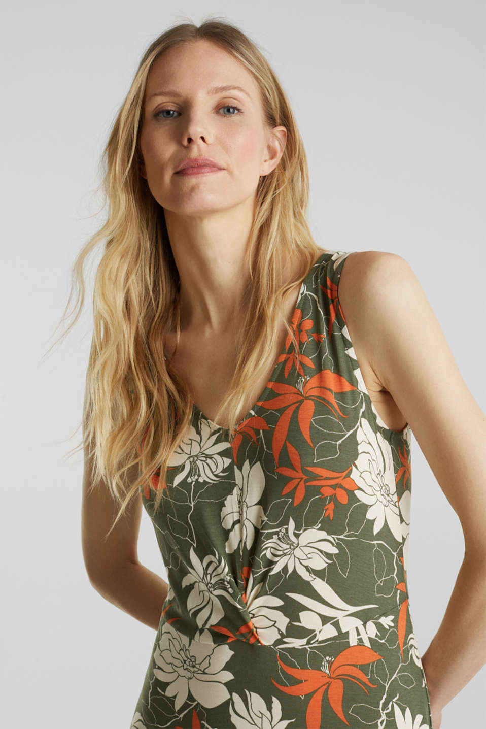 Maxi dress made of jersey with a floral print, KHAKI GREEN 4, detail image number 5