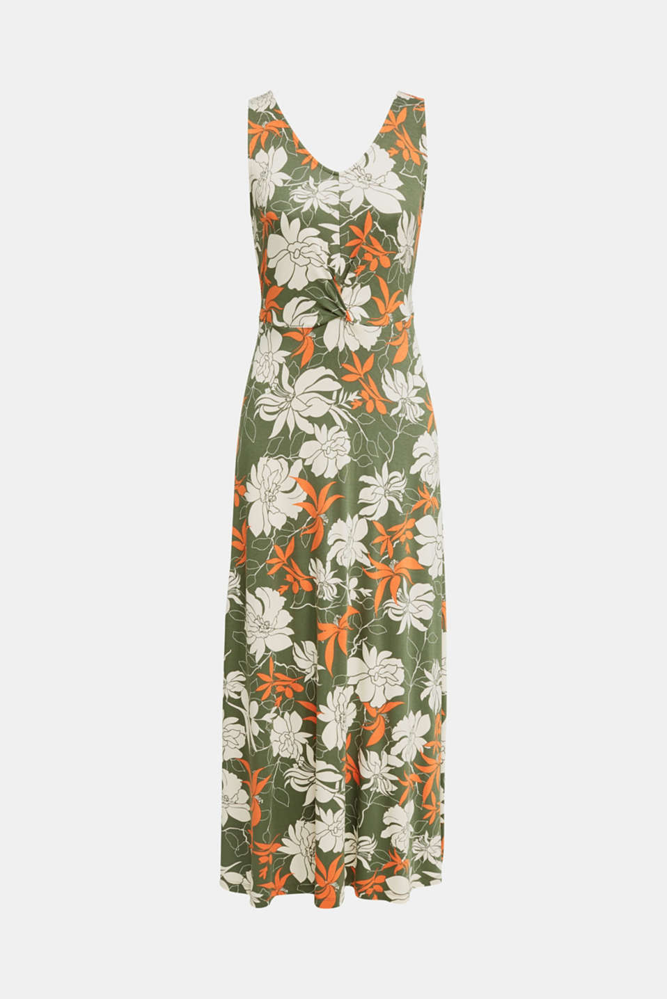 Maxi dress made of jersey with a floral print, KHAKI GREEN 4, detail image number 6