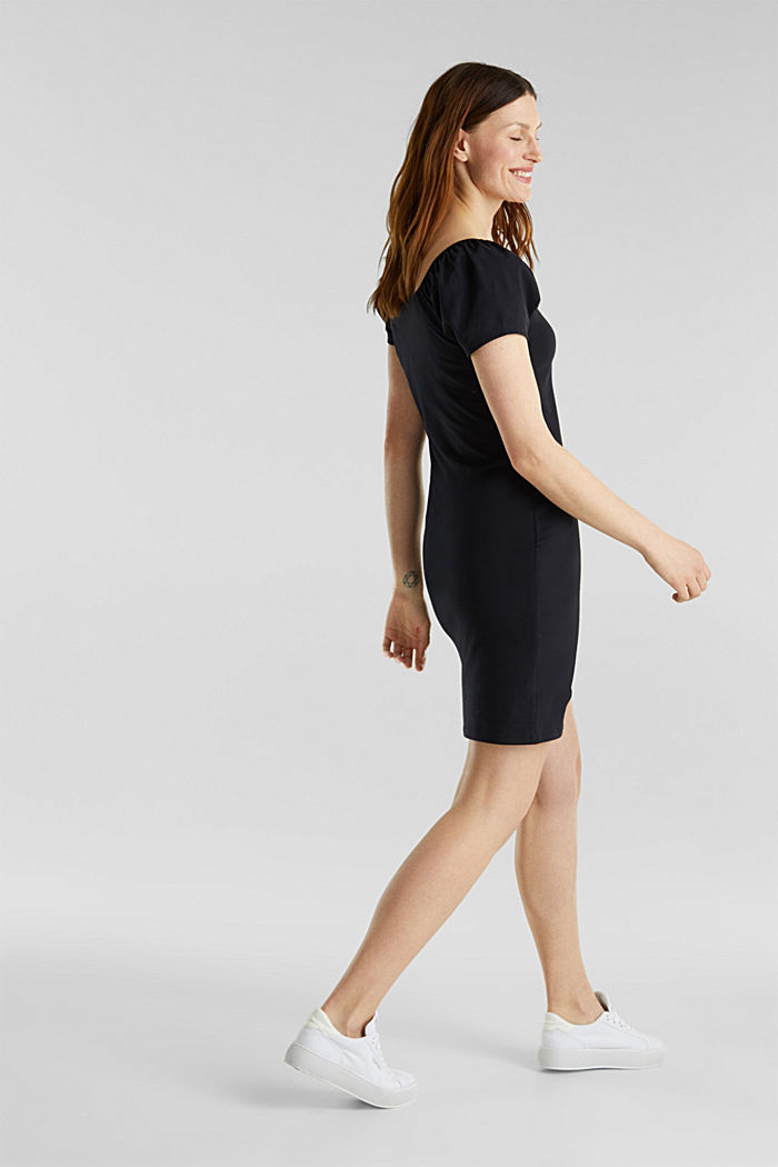 Carmen-Kleid aus Jersey-Stretch, BLACK, detail image number 1
