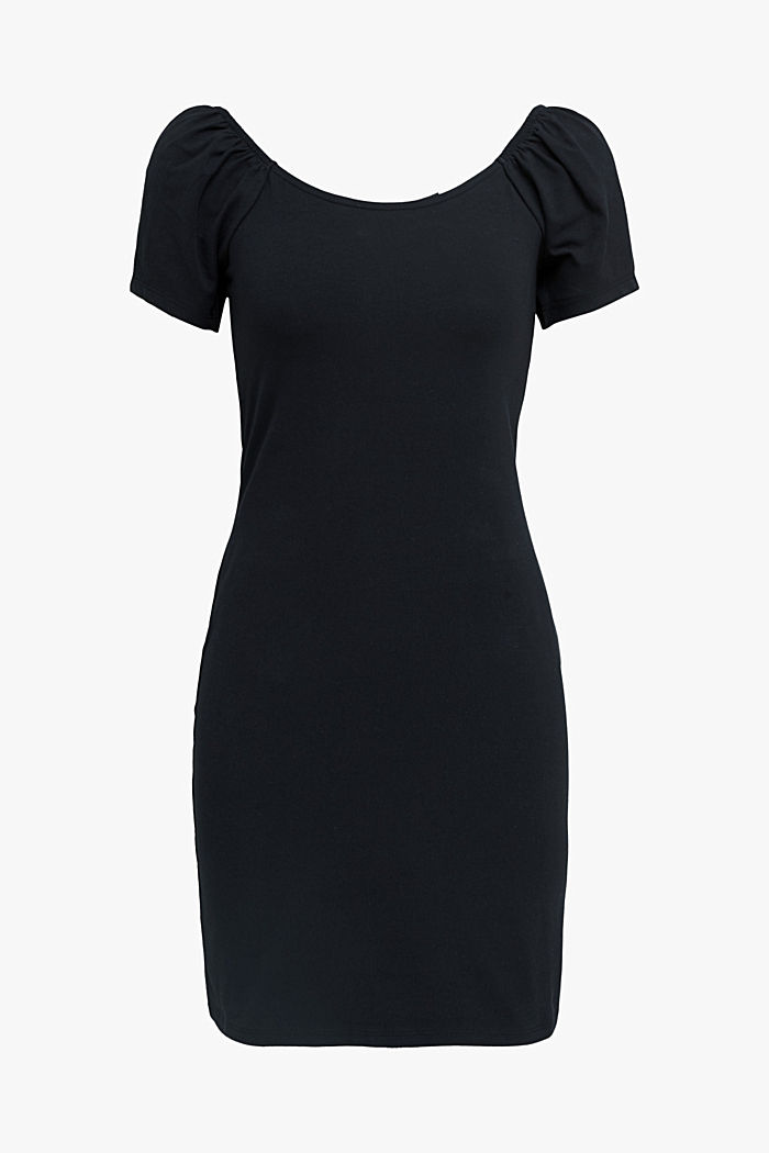Carmen-Kleid aus Jersey-Stretch, BLACK, detail image number 5