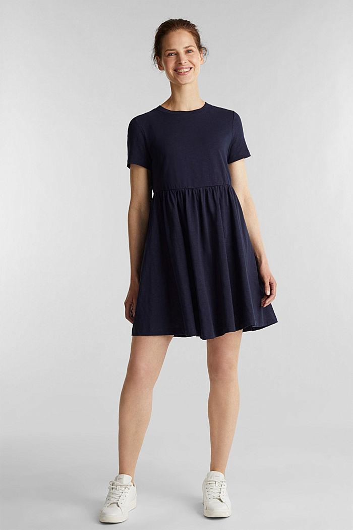 Vestido de estilo camisón, 100% algodón ecológico, NAVY, detail image number 1