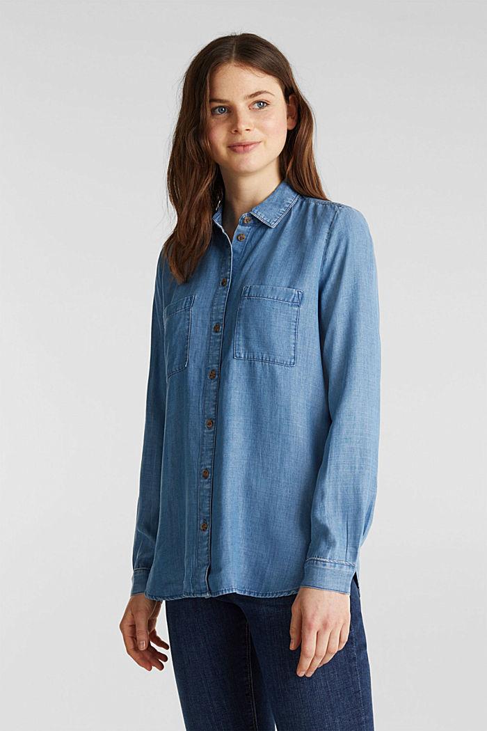 Made of TENCEL™: Denim-look blouse, BLUE LIGHT WASHED, detail image number 0
