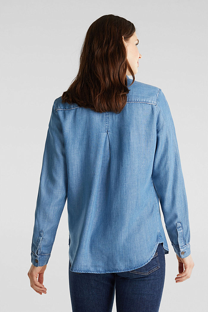 Made of TENCEL™: Denim-look blouse, BLUE LIGHT WASHED, detail image number 3