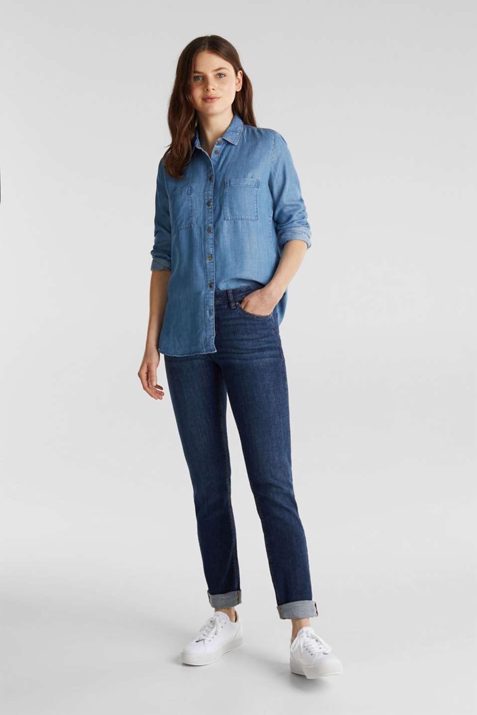 Made of TENCEL™: Denim-look blouse, BLUE LIGHT WASH, detail image number 1