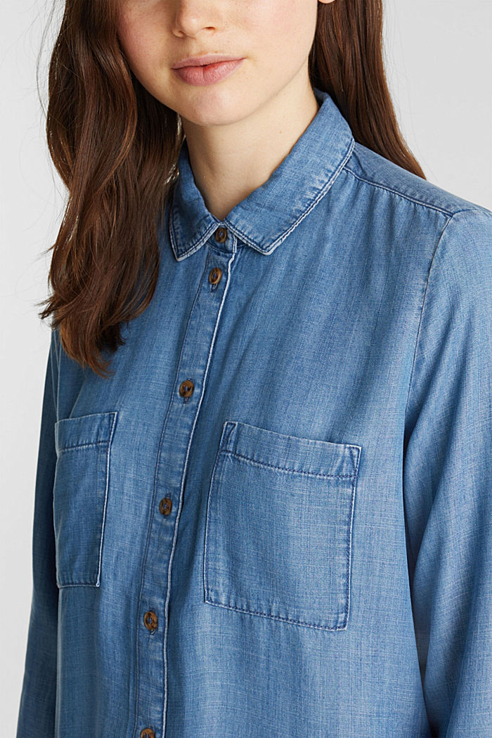 Made of TENCEL™: Denim-look blouse, BLUE LIGHT WASHED, detail image number 2