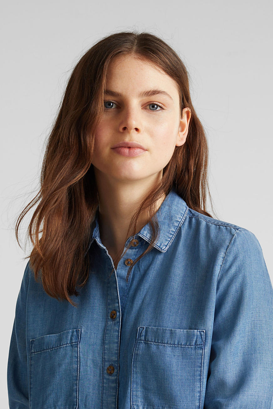 I TENCEL™: bluse i denim-look