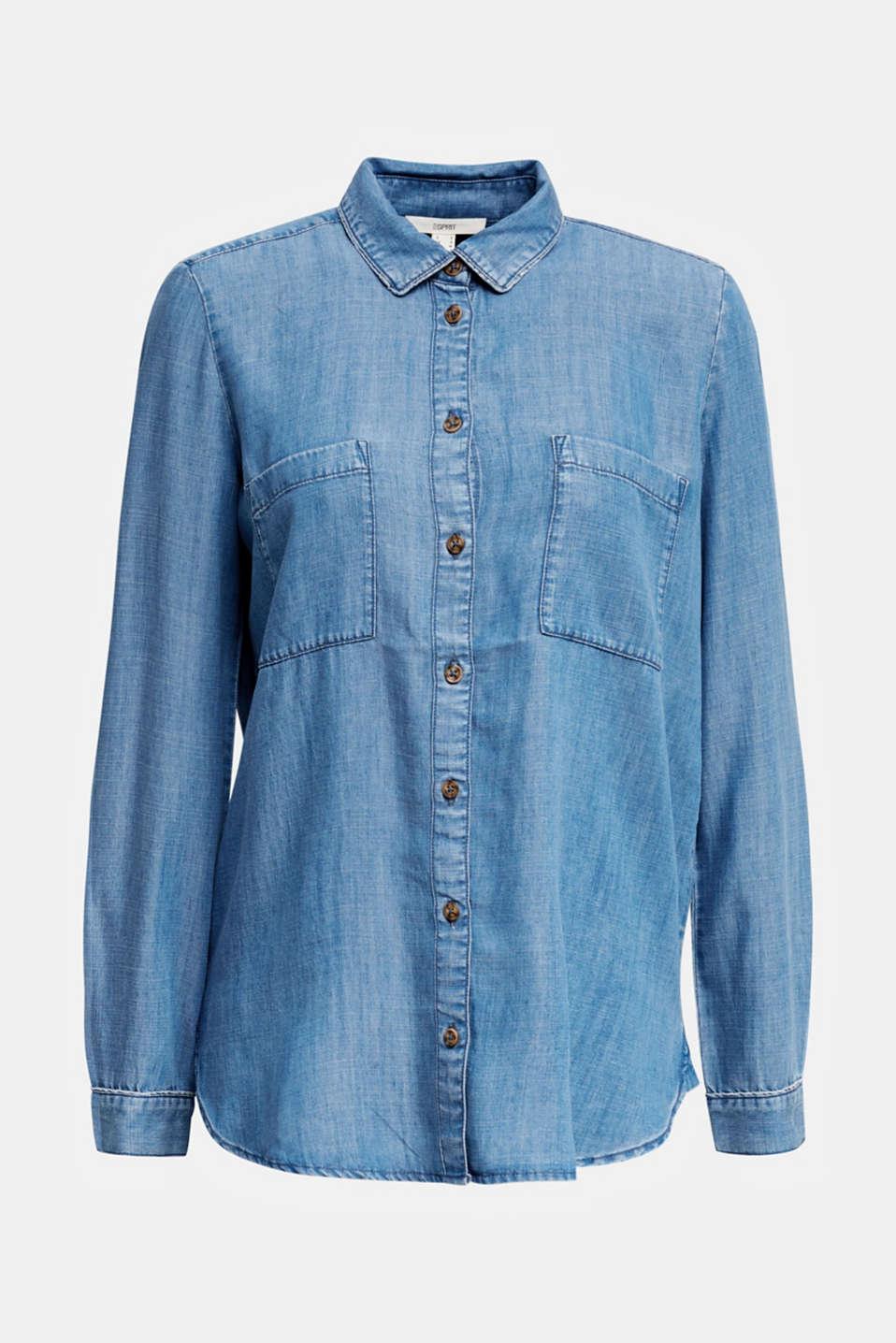 Made of TENCEL™: Denim-look blouse, BLUE LIGHT WASH, detail image number 7