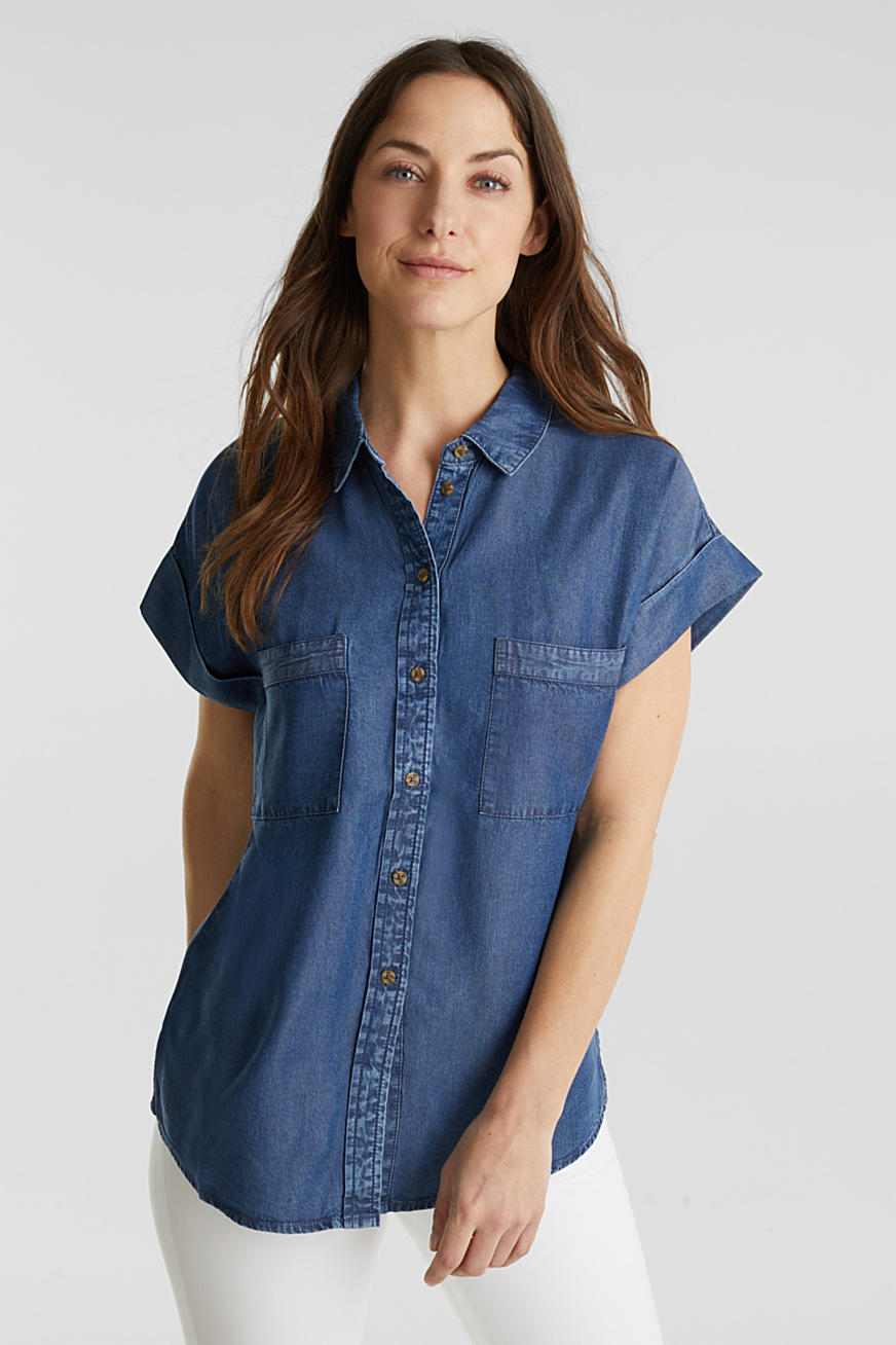 Made of TENCEL™: Blouse with pockets