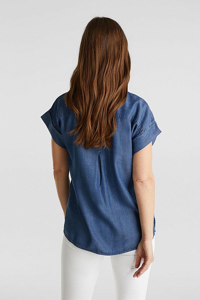 Van TENCEL™: blouse met zakken, BLUE DARK WASHED, detail image number 3