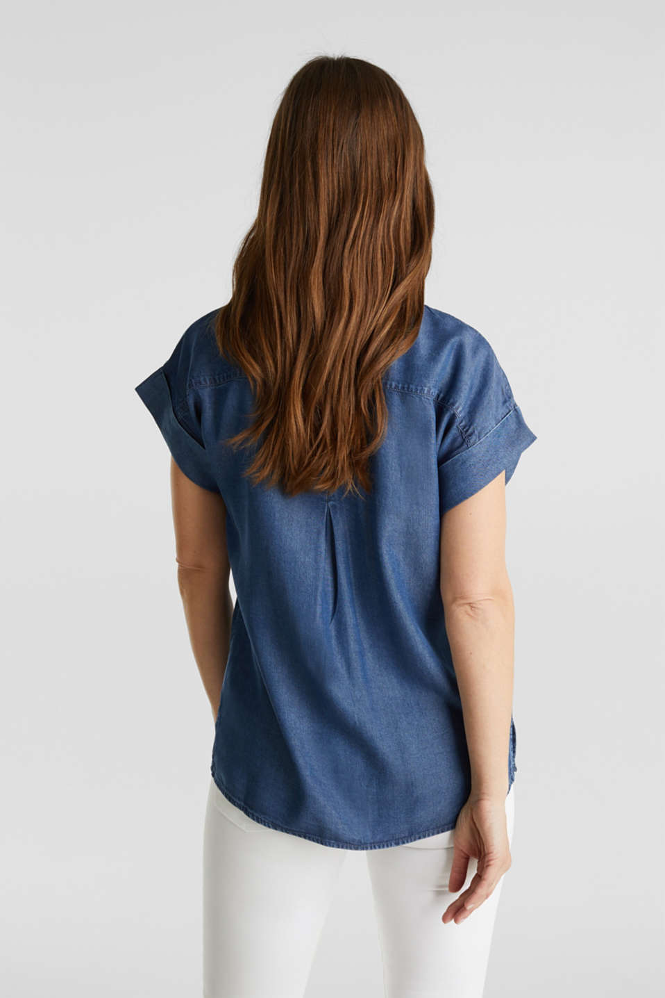 Made of TENCEL™: Blouse with pockets, BLUE DARK WASH, detail image number 3
