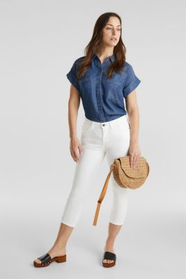 Made of TENCEL™: Blouse with pockets, BLUE DARK WASH, detail